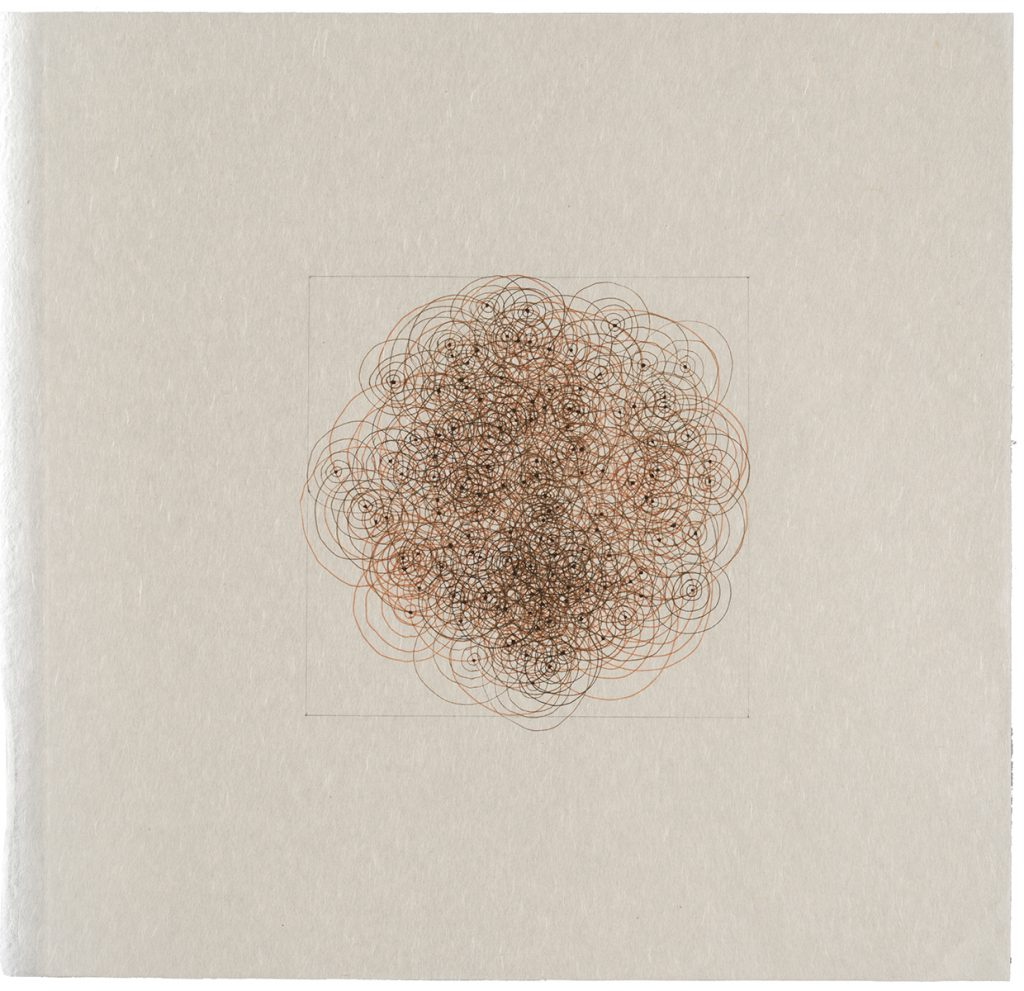 "Drawings: Circle/Square, pencil and pen on gampi, 11"" x 11"""