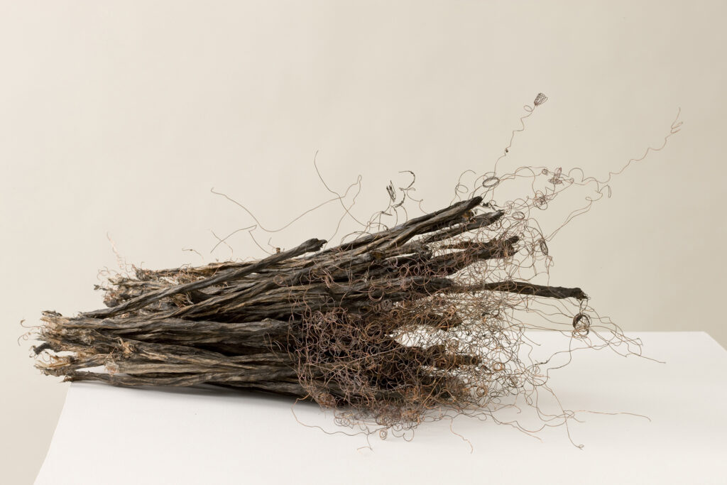 Remains II #2: string, copper wire, paper, rice paste, pigments, fire, water