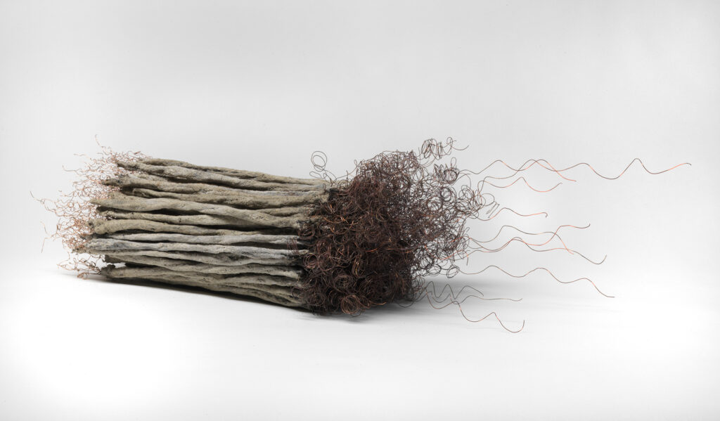 Remains II #5: string, copper wire, paper, rice paste, pigments, fire, water, ashes