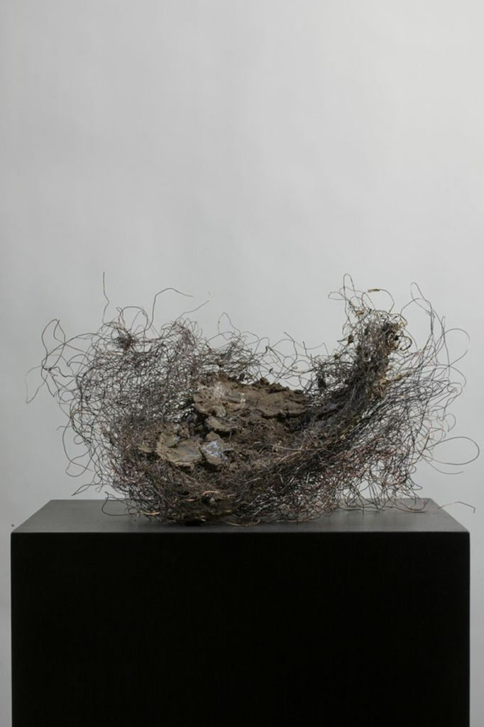 CNIII #3, paper, rice paste, pigment, copper wire, mud