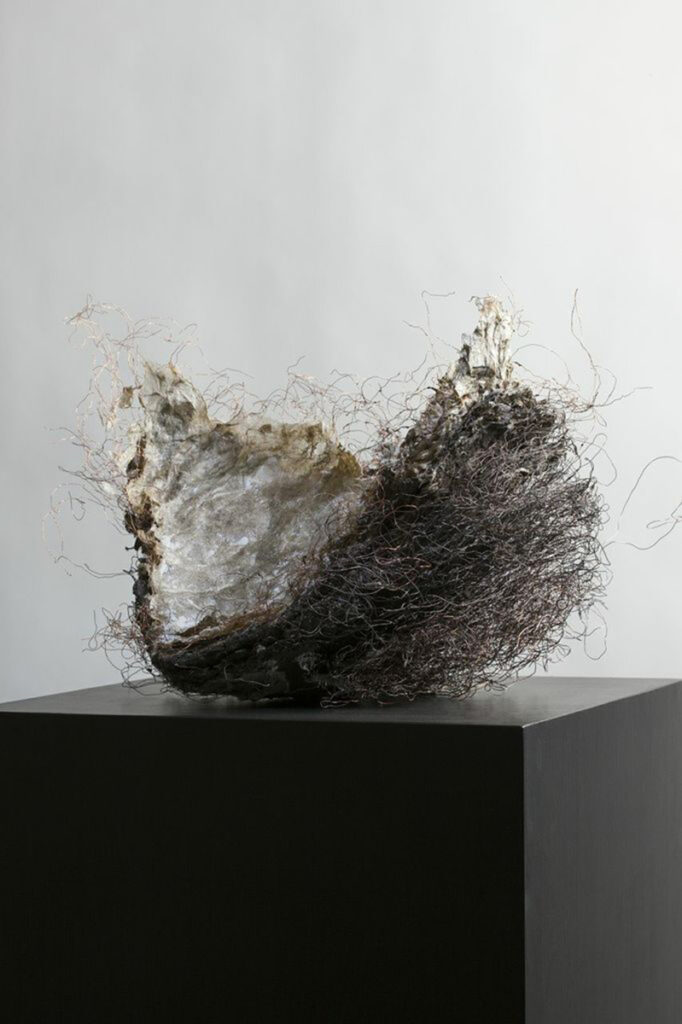 CNIII #5, paper, rice paste, pigment, copper wire, mud