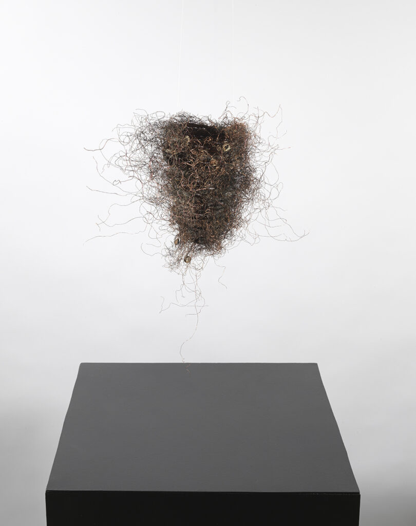TiNan #81a, cotton cord, copper wire, rice paste, pigment