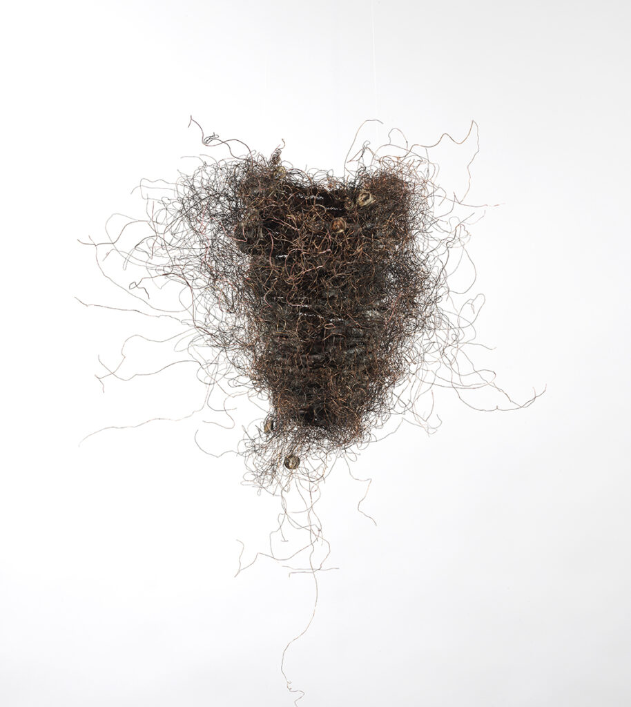 TiNan #81b, cotton cord, copper wire, rice paste, pigment