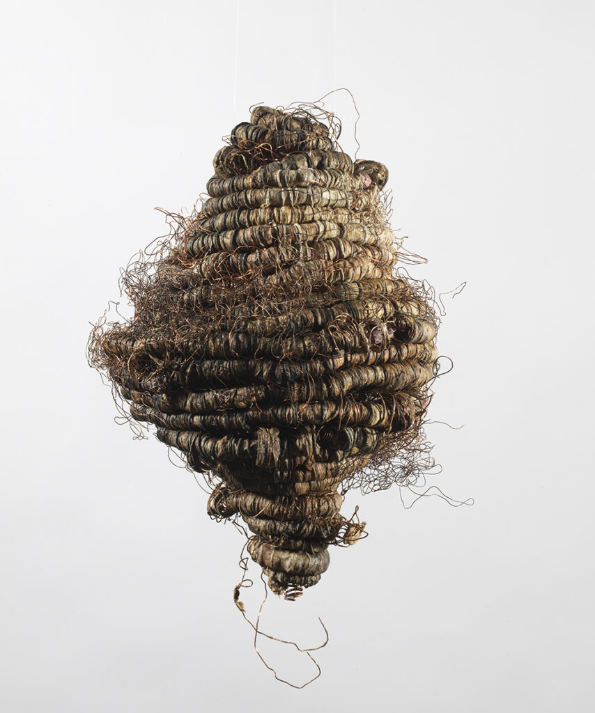 TiNan #84, cotton cord, copper wire, rice paste, pigment