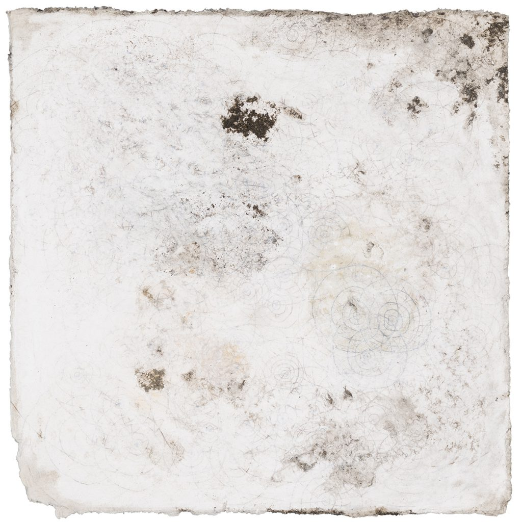 """White Series I, ink, water soluble crayon, mud, water, 8""""x8"""""""