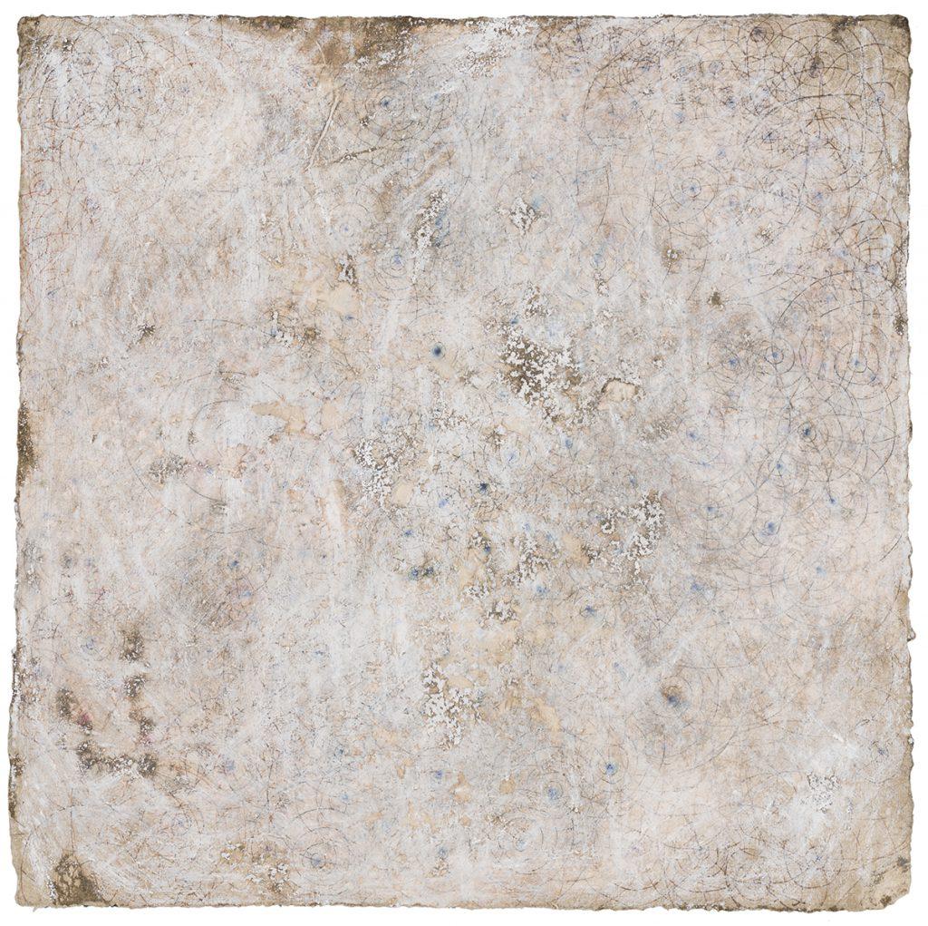 "White Series II, 8""x 8"", ink, water soluble crayon, mud, water"